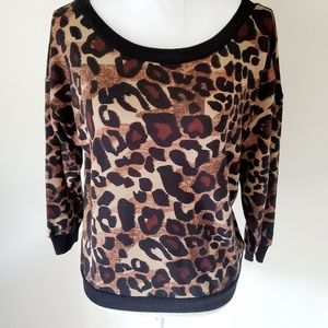 Almost Famous Cheetah Lace Back Blouse Size Large